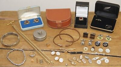 Men's Vintage & Modern Job Lot - Jewellery Silver Ring Cufflinks Albert Chain &c