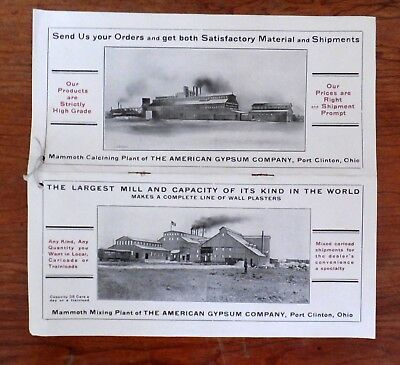 1906-10 Flyer for American Gypsum Co Port Clinton, OH w/ Pictures of New Factory