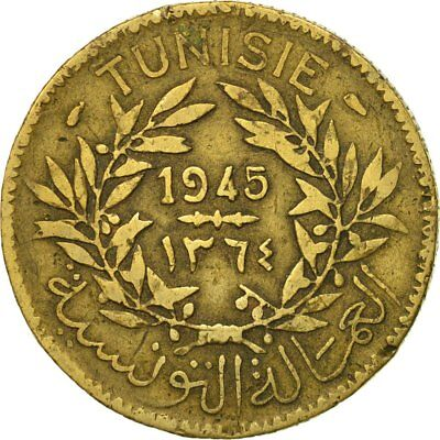 [#524025] Tunisia, Anonymous, 2 Francs, 1945, Paris, VF(20-25), Aluminum-Bronze