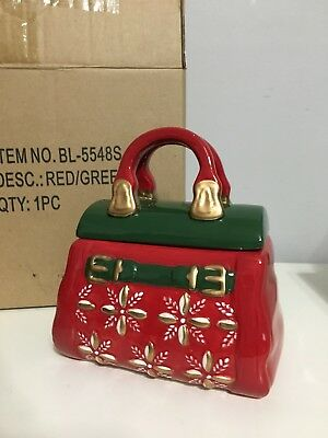 DAVID'S COOKIES Cookie Jar Holiday Purse Treat Candy Red Green Gold Christmas