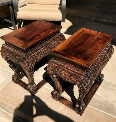 Important Chinese Imperial Huanghuali Side Tables Throne Stools Ming Early Qing
