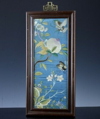 Fine Antique Chinese Silk Peach Crane Butterfly Landscape Wall Plaque Panel