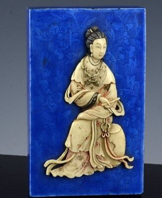 SUPERBLY CARVD c1880 CHINESE BLUE CANTON ENAMEL SILVERED FIGURAL DESK TABLE BOX