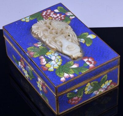 c1890 CHINESE FAMILLE ROSE CLOISONNE ENAMEL JADE PENDANT INLAID DESK TABLE BOX