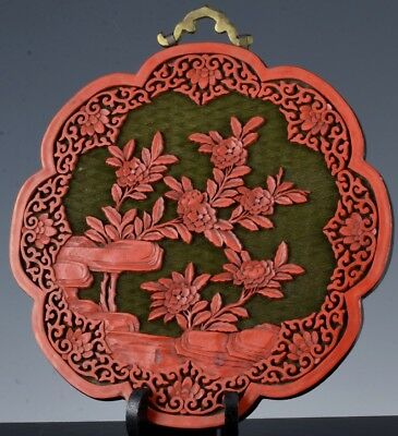Nice Antique Chinese Carved Cinnabar Lacquer Boys Scholar Landscape Wall Plaque