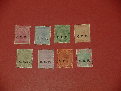 "1890 India Queen Victoria 8v Stamp Set w/ ""C.E.F."" Ovpted. MH."
