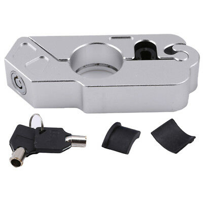 Silver Motorcycle Handlebar Lock Scooter Theft Protect Brake Clutch Security LD