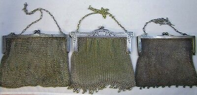 Mesh Handbags Evening Purse Antique Silver Plated Chainmail  Lot of 3 | 920.5 g