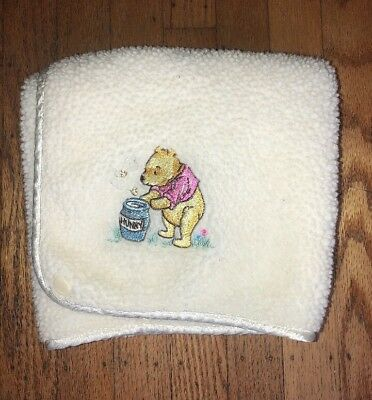 """Disney Classic Pooh Baby Blanket 35""""x29"""" White Embroidered Satin Fleece HUNNY"""