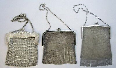 Mesh Handbags Evening Purse Antique Silver Plated Chainmail  Lot of 3 | 362.6 g