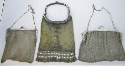 Mesh Handbags Evening Purse Antique Silver Plated Chainmail  Lot of 3 | 541.2 g