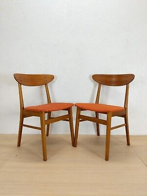 Pair Of Vintage Danish Modern Farstrup Model 210 Dining Chairs   Original  Fabric