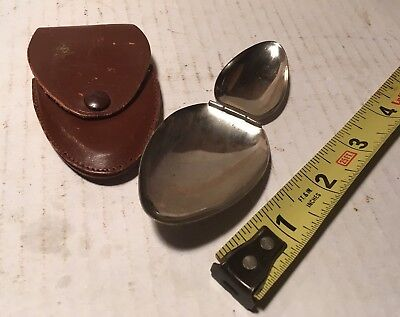 Vintage Doctors Folding Dosing Medicine Spoon In Leather Case From Medical Bag