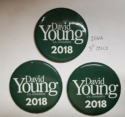 2018 Iowa David Young for U S Congress political pinback Lot
