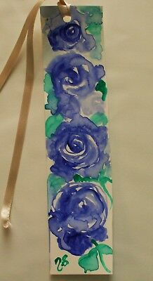 Watercolour painting,Bookmark,Roses,Blue,handcrafted,impressionist,sgnd.original