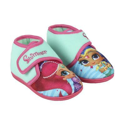 Girls New Shimmer And Shine Touch Fastening Slippers Pink Shoes Size 6-10