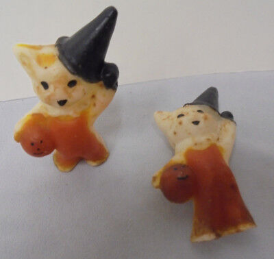 "Halloween Cat & Jack O Lantern Candle, Black Hat, 3.25"" Tall, 2"" Across Vintage"