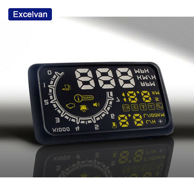 Excelvan HUD-W02 Car Heads Up Display Rotation Speed Temperature Display Black