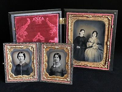 Rare Pairing 1/9 Plate Ambrotypes & 1/4 Plate Neff Patent Plate Of Same Sisters