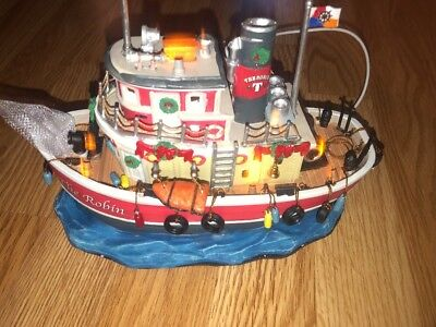 """Lemax 2009 Carole Towne Collection """"The Robin"""" - HTF Battery Lighted Boat In Box"""