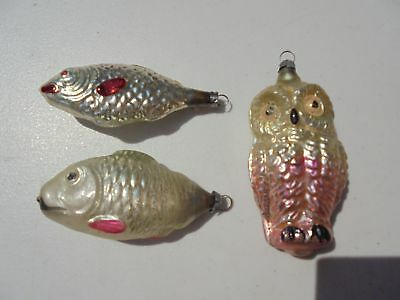 3 Old Antique Blown Glass Christmas Ornaments 2 Fish 1 Owl