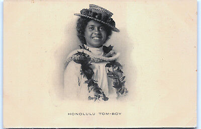 """Honolulu Tomboy"" Hawaii UDB Postal Card Postcard Hawaiian Girl Private Mailing"