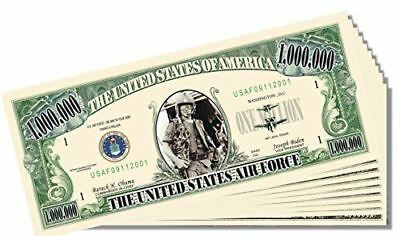Military - Air Force Novelty Million Dollar Bill - 10 Count with Bonus Clear Pro