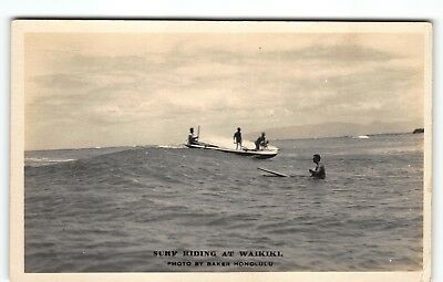 Ray Jerome Baker Surf Riding Waikiki Hawaii Real Photo Postcard Surfing AZO