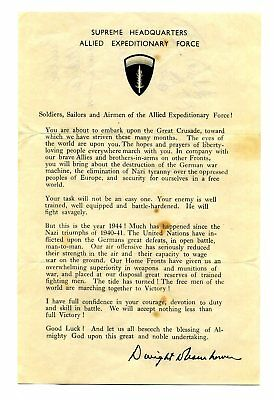WW2 D-DAY JUNE 5th 1944 Normandy INVASION Gen. Eisenhower MESSAGE HAND-OUT 100%