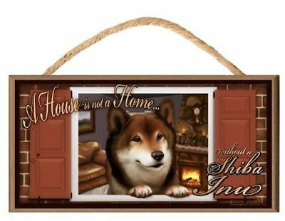 "Shiba Inu ""Paws on the Windowsill"" A House is Not a Home Dog Sign / Plaque featu"