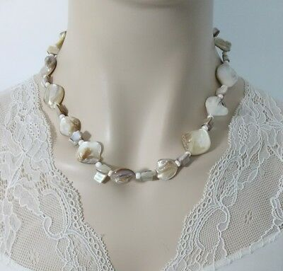 """Mother Of Pearl Shell Beaded Necklace 18-20.5"""" R1-15"""