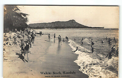 Waikiki Beach Hawaii Real Photo Postcard AZO Ray Jerome Baker RPPC