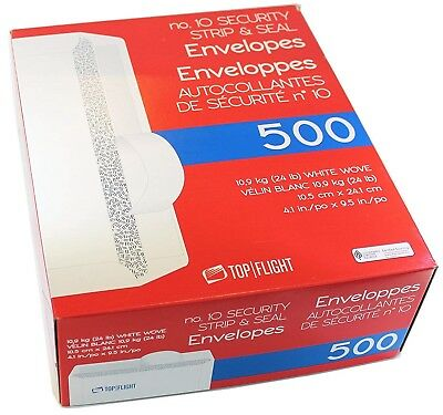 500 Top Flight #10 White Letter Envelopes,Security Strip & Seal,4.1x9.5 in