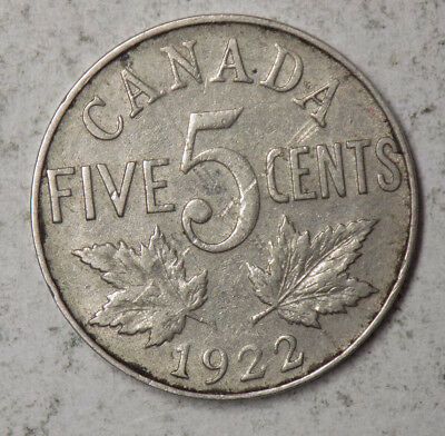 Canada 1922 5 Cents Coin