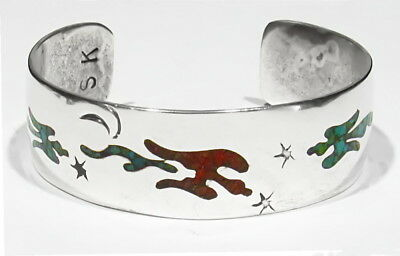 Big Old Signed Apache Indian Coral Turquoise Peyote Birds 925 Silver Bracelet