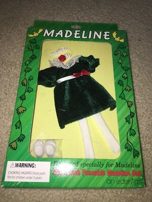 """New 1994 Madeline Holiday Best Dress Outfit Fashion Green Velour 8"""" NRFB"""