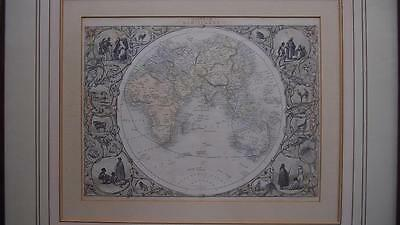 Antique 1845 World Map Eastern Hemisphere by John Tallis -Native Peoples/Animals