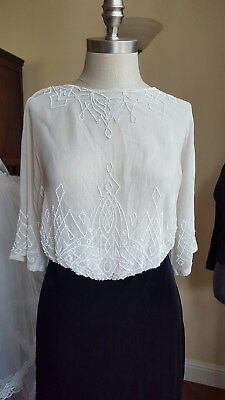 antique 1900s Edwardian Sheer Blouse Top Beaded Gibson Girl Tea