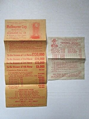 Vintage 1950's TATTERSALLS MELBOURNE CUP Lottery Ticket x 2 TICKETS - FREE POST