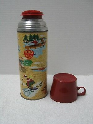 VINTAGE THERMOS ~ POLY RED TOP   No. 2235 ~ SKIING FISHING HUNTING  COLLECTIBLE