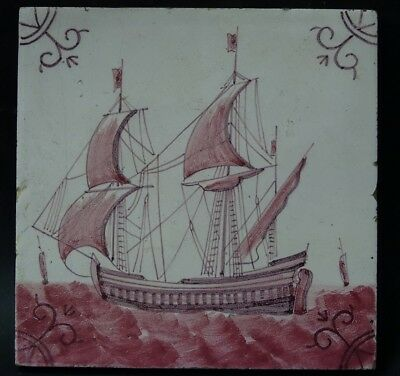 Genuine Early Tile With Galleon Ship - Friesland - William De Morgan Style Rare