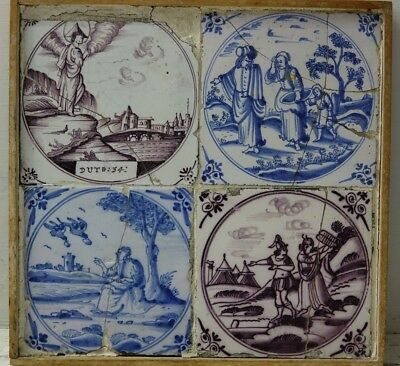 Genuine Early 4 Framed Tiles - Very Rare - Info Welcome - L@@k