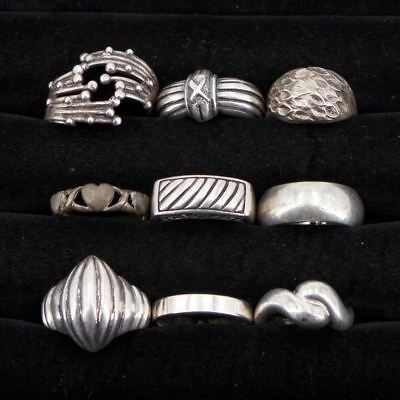 VTG Sterling Silver - Lot of 9 Assorted Solid Rings NOT SCRAP - 45.7g