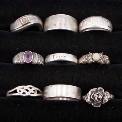 VTG Sterling Silver - Lot of 9 Assorted Gemstone & Solid Rings NOT SCRAP - 36.8g
