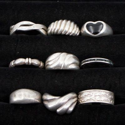 VTG Sterling Silver - Lot of 9 Assorted Gemstone & Solid Rings NOT SCRAP - 40g