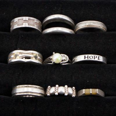 VTG Sterling Silver - Lot of 9 Assorted Gemstone & Solid Rings NOT SCRAP - 39g