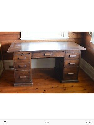 Antique Timber Oak Writing Desk - solid condition with minor scratches & chips
