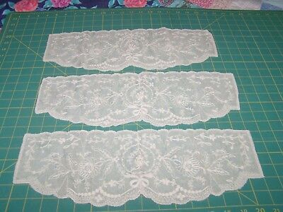 Vintage Unusual Double Layer Embroidered Net Antimacassar Set