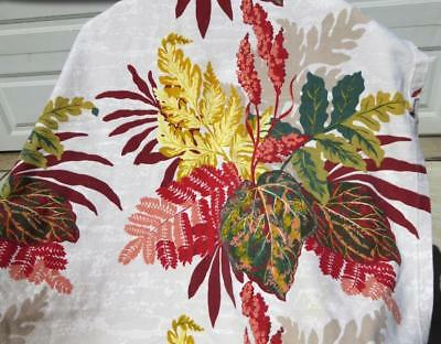 Colorful 1950's Markwood Barkcloth Fabric Fall Leaves Ferns Flowers 191""