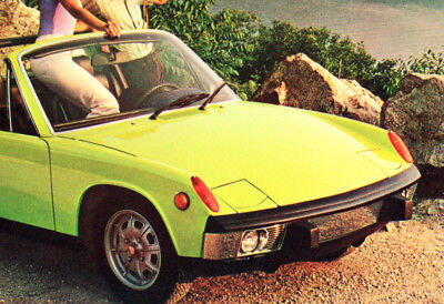 Vintage Postcard 1973 Porsche 914 Roadster Green Post Card